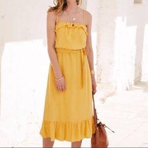 Sézane | Yellow Silk Ruffle Dress